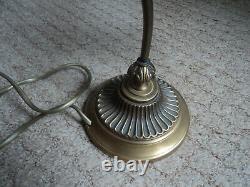 LAMPE TULIPE MULLER ART DECO/NOUVEAU PATE DE VERRE 1900 era DAUM PIED LAITON