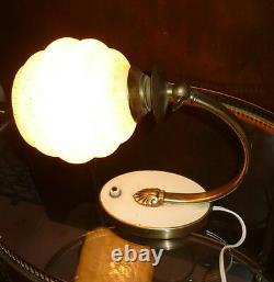 LAMPE bureau ART DECO BAUHAUS DESIGN ALLEMAND 1930 Laiton rotule