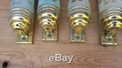 LOT 7 applique tube art déco PERZEL paire laiton verre granité décor floral