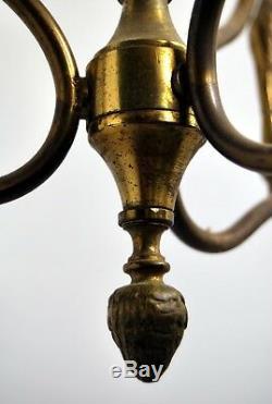 LUSTRE 3 PERRUCHES bronze ciselé & laiton mi-XXe ART DECO ANIMALIER