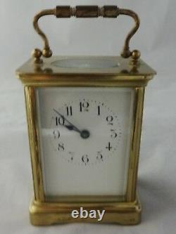 Laiton Antique Français Fabriqué Transport Horloge Biseauté Verre Sans Clé