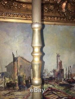 Lampadaire Tripode Art Déco En Laiton Doré. Dlg Maison Bagues Charles Jansen