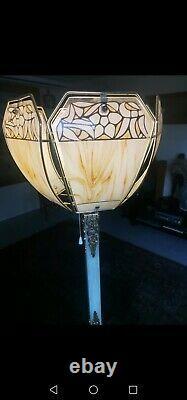 Lampadaire style art deco laiton, onyx et verre