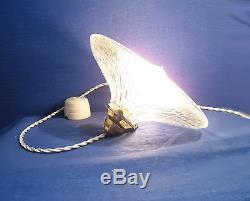 Lampe Abat-jour Reflecteur Verre Holophane Artdeco Douille Laiton/porcelaine