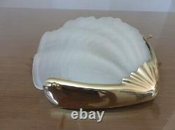 Lampe Aplique Coquillage Art Deco En Laiton Et Verre Givre Epais Annees 70