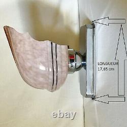 Lampe Applique Art Déco Pate De Verre Rose Laiton Chromé Vintage Tchécoslovaque