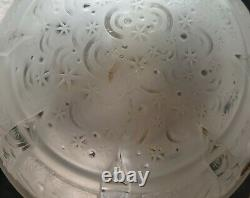 Lampe Art Déco Art Nouveau Bronze ou Laiton colonne en verre Signé Muller Frères