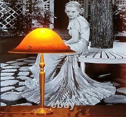 Lampe Art Déco Art Nouveau Verre Moulé signé (Bronze ou Laiton)