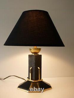 Lampe Art Déco Bronze Laiton & Galuchat Estampille Ag Iribe Rousseau Adnet
