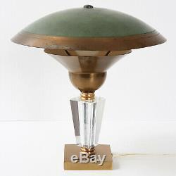 Lampe Art Deco Francaise Vintage 1920 1930 En Acier, Laiton & Verre 20s 30s