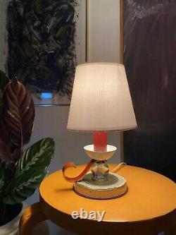 Lampe Art Deco Jacques Adnet / Laiton Cristal Moderniste / BE 27cm