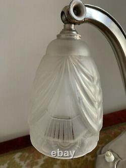 Lampe Art Déco articulée bronze et laiton argentée verre 1930 de style Degué