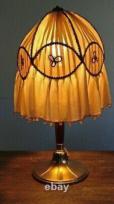 Lampe Art-déco/Art nouveau WMF j abat jour soie perlé/ poinçon/dlg Paul FOLLOT