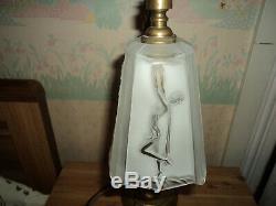 Lampe Bronze Laiton Tulipe Pate De Verre Daum Muller Art Deco/nouveau