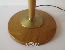 Lampe MAZDA art déco laiton et bois peint avec Tulipe opaline hauteur 78 cm