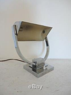 Lampe Moderniste Laiton Nickelé Art Deco 1930 Adnet Perzel