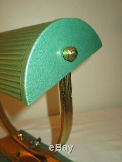 Lampe Moderniste Laiton & métale émaillé Art Deco 1930 /50 Adnet Perzel