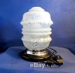 Lampe Plafonnier Moderniste Cristal De Clichy Socle Laiton/chrome Chêne Massif