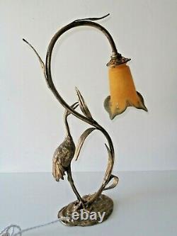Lampe ancienne héron bronze et laiton Art déco