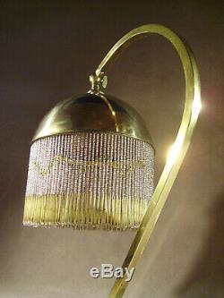 Lampe art déco en laiton et réflecteur à pampilles