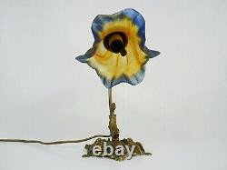 Lampe col de cygne style Art Déco en laiton avec tulipe signée Vianne