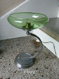 Lampe de Chevet Art Déco en Laiton Chromé Abat jour marqué Deutschland