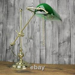 Lampe de Table Banquier Laiton Écran Verre Interrupteur à Tiré Art Déco Bureau