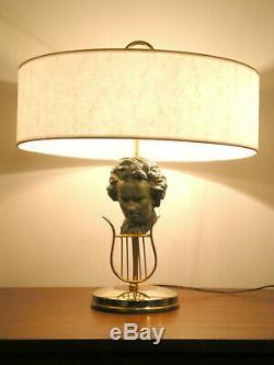 Lampe de bureau Beethoven des années 1950 en laiton et régule