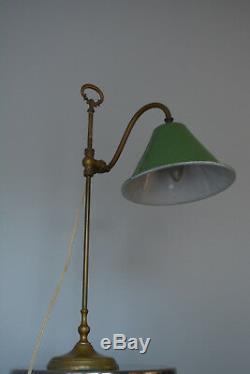 Lampe de bureau col de cygne Art Deco laiton et email / Vintage Desk lamp