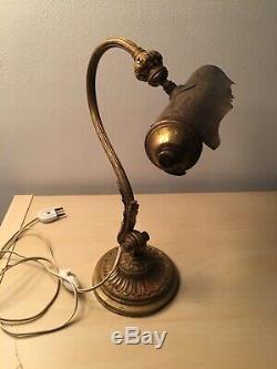 Lampe de bureau, de banquier, de notaire, en laiton/bronze doré. 1900