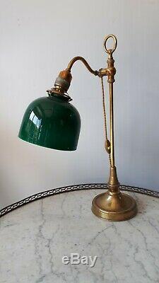 Lampe de bureau laiton et opaline verte
