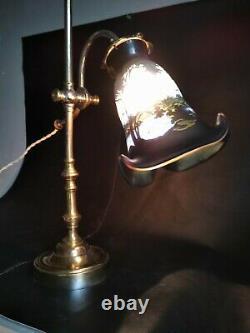 Lampe de bureau signée Gallé Art deco laiton et pate de verre