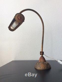 Lampe de piano notaire orientable bronze et laiton doré à décor floral Art Déco