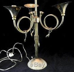 Lampe en laiton à poser 3 cors de chasse