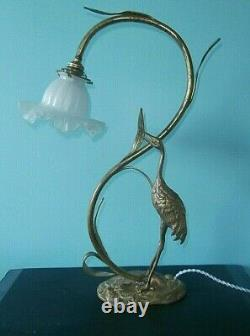 Lampe héron bronze et laiton Art déco