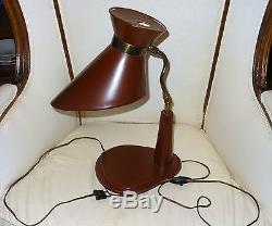 Lampe moderniste design gainée cuir&laiton 1950's couleur bordeaux Adnet