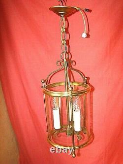 Lanterne de vestibule à 3 lampes laiton et verre cylindrique époque années 60