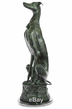 Lévrier Laiton Bronze Patine Sculpture Figurine Statue Art Déco Cadeau Solde