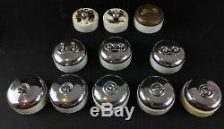 Lot 11 Anciens Interrupteurs Double Et Simples Porcelaine Chromée Vintage Rare