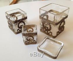 Lot 4 verreries Nécessaire Bureau Fumeur XIXéme Cristal Laiton Style Louis XVI