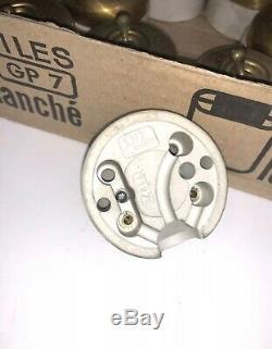Lot de 20 interrupteurs anciens porcelaine et Laiton doré Vintage Rare