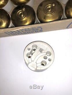 Lot de 20 interrupteurs anciens porcelaine et Laiton doré Vintage Rare (3)