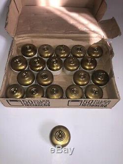 Lot de 20 interrupteurs anciens porcelaine et Laiton doré Vintage Rare (4)