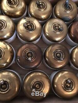 Lot de 20 interrupteurs anciens porcelaine et Laiton doré Vintage Rare (lot 2)