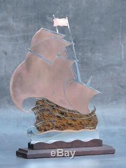Lucien GERFAUX Voilier en laiton sur socle Art Déco 1930