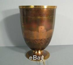 Lucien Gerfaux Lampe Vasque Art Déco Dinanderie Cuivre Années 1930 Décor Bateau