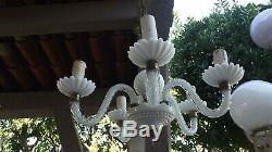 Lustre 4 branches opaline et laiton blanche verre Murano chandelier