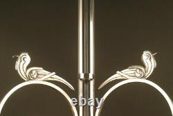 Lustre Art Déco Aux Trois Faisans En Bronze Et Laiton Nickelés
