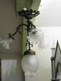 Lustre Art Déco Bronze/Laiton 3 Tulipes, globe Suspension