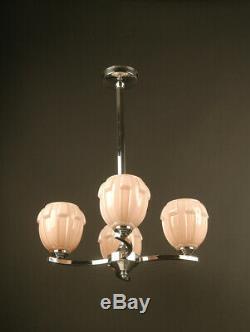 Lustre Art Déco En Laiton Chromé Et Verre Moulé / Chandelier Art Deco